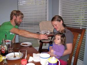 Feeding Evie pancakes with Nutella