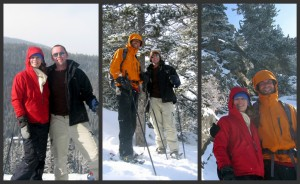All of us snowshoeing