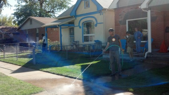 Joel's parents visited and provided invaluable help as we and our neighbor sodded our front yards