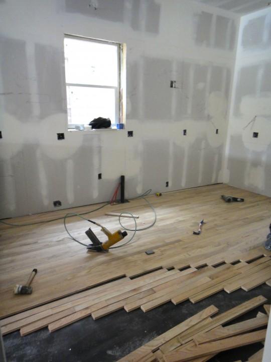 Work inside - hardwood in the kitchen