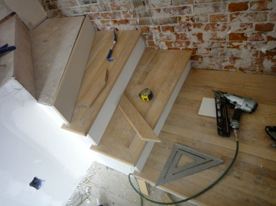 Work inside - hardwood on the stairs
