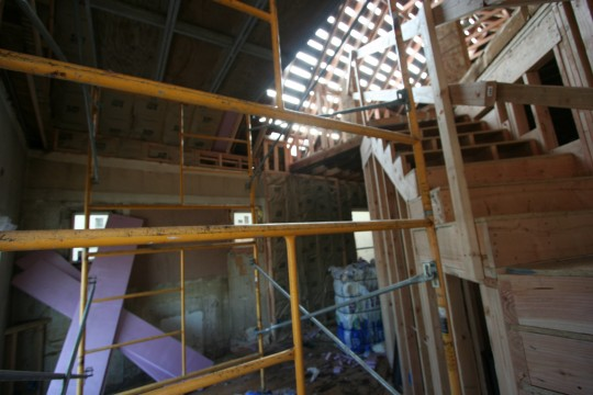 Work inside - building the stairs