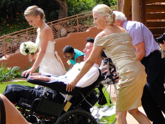 Picking up her dad to walk down the aisle