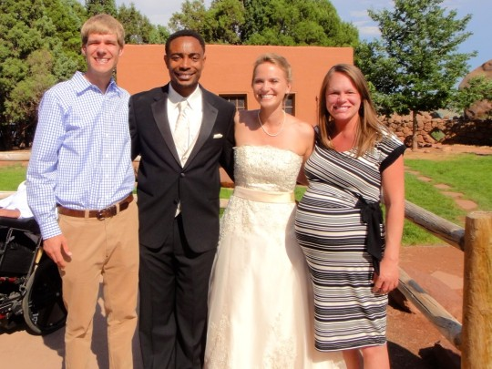 Us with the bride & groom...babies please come out.