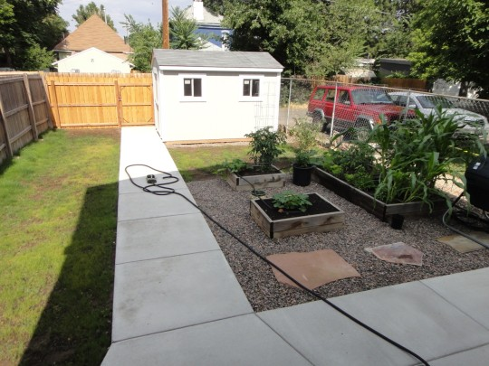 Finished! Garden is going, grass is trying to grow.